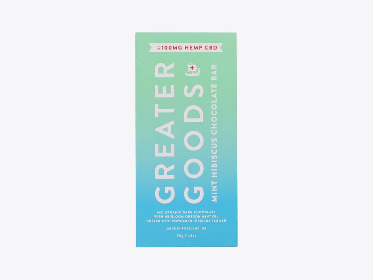 Greater Goods CBD Chocolate (100 mg) - Mint Hibiscus