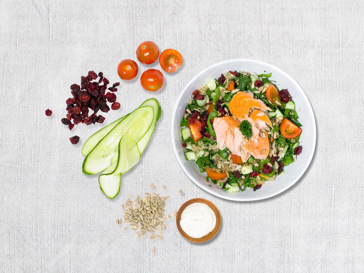 Salmon Quinoa Tabbouleh Salad